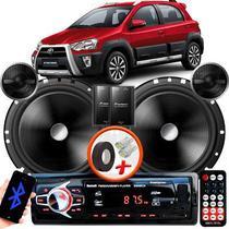 "Alto Falante Pionner Toyota Etios Cross Traseiro 2 Vias TS-C170BR 6"" 120W RMS + Tweeters + Crossovers Par + Rádio Com Bluetooth - Kit Delparts"
