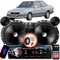"Alto Falante Pionner VW Apollo Traseiro 2 Vias TS-C170BR 6"" 120W RMS + Tweeters + Crossovers Par + Rádio Com Bluetooth - Kit Delparts"