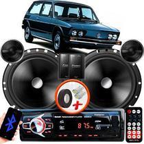 """Alto Falante Pionner VW Brasilia Dianteiro 2 Vias TS-C170BR 6"""" 120W RMS + Tweeters + Crossovers Par + Rádio Com Bluetooth - Kit Delparts"""