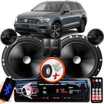 "Alto Falante Pionner VW Tiguan Dianteiro 2 Vias TS-C170BR 6"" 120W RMS + Tweeters + Crossovers Par + Rádio Com Bluetooth - Kit Delparts"