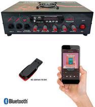 Amplificador de Mesa Trinity Turbo Dance Com BLUETOOTH, Entrada USB e Rádio FM 5.1 300W RMS 2 Canais - Ideal Para Som de Igrejas Lojas Casa -