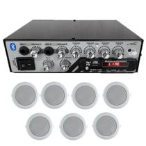 Amplificador Music WAY Bt Usb Rc7000 4 canais + 7 Arandelas -