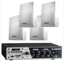 Amplificador para Som Ambiente SLIM1000 + 4 Cxs PS200 Branca - Frahm