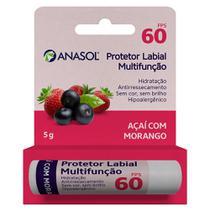Anasol protetor labial multifunção fps 60 açaí com morango 5g -