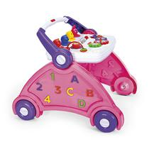 Andador Infantil Para Bebê Didático 3 em 1 Com Som Rosa Poliplac -