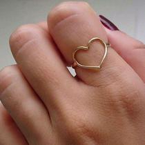 Anel coração vazados ouro 18 k - Casa Das Joias Online