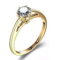 Anel De Ouro 18k Solitário De Noivado + Diamantes Naturais - Vivar Joias