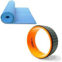 Anel de Yoga e Pilates LIVEUP LS3750 Exercícios Magic Circle + Colchonete de Yoga Azul LS3231B -
