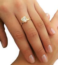 Anel Fino c/ Pedra de Zircônia Formato Coração Folheado Ouro 18 k semi joia AN0006-22 - Reluz Presente