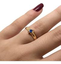 Anel Formatura Safira Suíça Feminino Ouro 18k K220 23047 - Shop Das Pedras