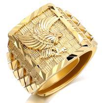 Anel Grande Masculino Eagle Banhado a Ouro Ajustável - Pjk Store