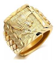 Anel Masculino Águia Ajustável Dourado Gold Ótimo Acabamento - Anel Aguia