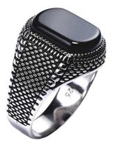 Anel Masculino De Prata 925 Black Onix - Tamanhos Exclusivos - Tudo Prata