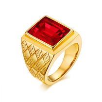 Anel Masculino Homem Banhado Ouro 18k Pedra Vermelha Granada - Jewelery