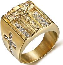 Anel Masculino Homem Cristo Cristão Jesus Banhado Ouro 18k - Jewelery