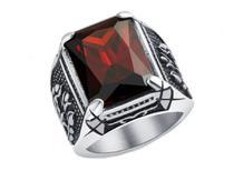 Anel Masculino Pedra Vermelha Zircônia Grande Prata de Aço Inox - Otto Store