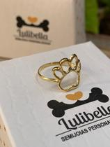 Anel ouro fino com pata vazada - Lulibella