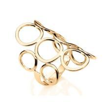 Anel Rommanel Banhado Ouro Círculos Vazados 511048 -