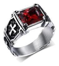 Anel Templário Pedra Vermelha Masculino Prata de Aço Inox - Otto Store