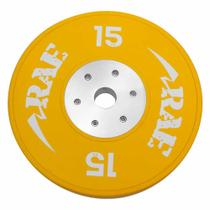 Anilha Olímpica Emborrachada Colorida Bumper de Competição - Competition 15 kg - Rae Fitness -