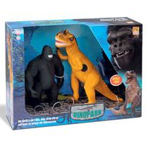 Animal Gorila King Kong Vs Dinossauro T-Rex Com Som - Beetoys -