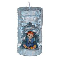 Anjinho na Vela Decorativa. Rossoni Velas. Entalhe a mão com anjo em resina 4 cm.Azul. 07x13 -
