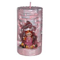 Anjinho na Vela Decorativa. Rossoni Velas. Entalhe a mão com anjo em resina 4 cm.rosa. 07x13 -