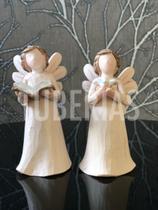 Anjo Biblia E Anjo Pombo Resina Decoração 9x5cm - Ef