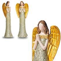 Anjo De Resina Dourado Design Floral 20cm Altura - Ef