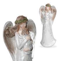 Anjo Decorativo De Resina  Prata Com Bebê Coroa Verde - Ef