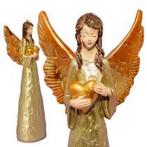 Anjo Decorativo Dourado Com Detalhe Coração 20cm - Ef