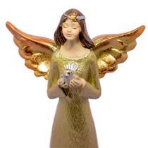Anjo Dourado de Resina Detalhe Pomba Decorativo 20cm - Ef