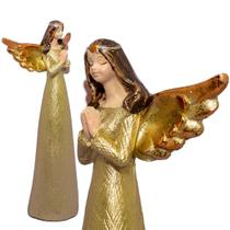Anjo Dourado de Resina Rezando Pequeno Decorativo 14cm - Ef
