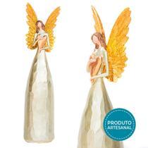 Anjo Dourado Decorativo De Resina C/ Coração 23cm - Ef