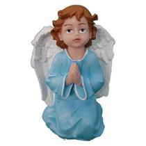 Anjo Rezando de mãos postas de mesa azul em Resina com 14 cm - Armazém Santo