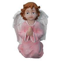 Anjo Rezando de mãos postas de mesa rosa em Resina com 14 cm - Armazém Santo