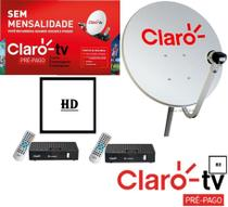 Antena Claro Tv Pré-Pago Mercantil 2 Receptores Digital HD + Antena 60 cm - Vivensis