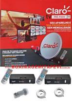 Antena Claro Tv Pré-Pago Mercantil SD 2 Receptores Digital + Antena 60 cm - Visiontec