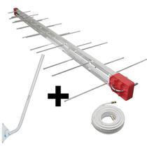 Antena Digital 4K UHF DIGITAL Antena Log 28, Mastro 80 cm e Cabo Coaxial 20 cm Kit Capte -