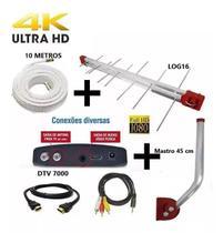 Antena Digital Externa 4K Capte Log 16 Elementos + Conversor  Digital 7000 + Cabo 10 metros + Mastro 45 cm -
