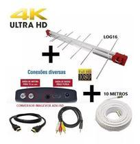 Antena Digital Externa 4K Capte Log 16 Elementos + Conversor  Digital + Cabo 10 metros -