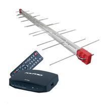 Antena Digital Externa 4K Capte Log 28 Elementos + Conversor e Gravador Digital Aquário DTV 7000S + Cabo 12 metros -