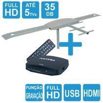 Antena Digital Externa Amplificada Capte K7 Turbo Digital + Conversor e Gravador Digital Aquário DTV 7000S -