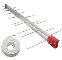 - Antena Externa Digital 4k Log 28 Elementos E Cabo 10 Metros + Mastro 50cm - Capte