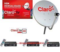 Antena mini parabólica Claro Tv Pré-Pago Mercantil 3 Receptores Digital SD + Antena 60 cm - visiontec