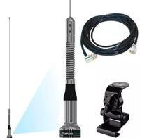 Antena Móvel VHF 130-512mhz 1/4 de Onda Mola na Base Steelbras Ap4186 + Cabo Coaxial 5,5 Metros + Suporte Bi-Articulado Porta Malas Hatch Sedan -