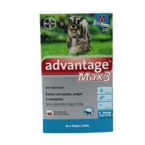 Anti pulgas Advantage Max 3 Bayer Cão 4 A 10kg com 3 pipetas -