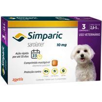 Antipulgas Zoetis Simparic 10 Mg Para Cães 2,6 A 5 Kg - 3 Comprimidos -