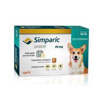 Antipulgas Zoetis Simparic 40 mg para Cães 10,1 a 20 Kg - 1 Comprimido -