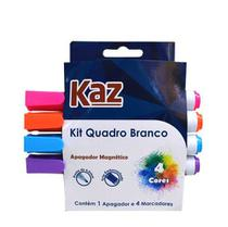 Apagador magnético jumbo p/quadro branco c/04 marcadores colors kaz -